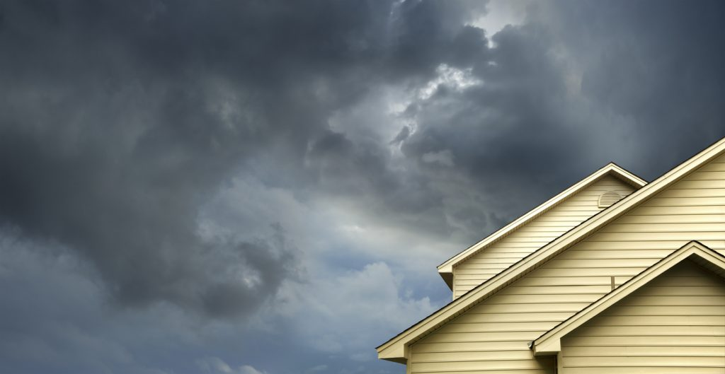 storm clouds over roof
