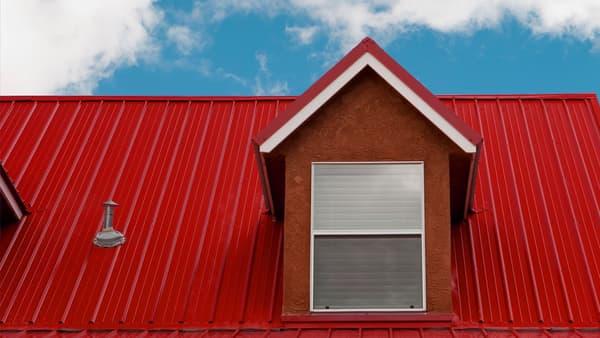 Red aluminum metal roofing